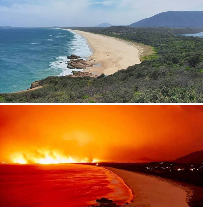 Australia On Fire. Pictures Taken From Charles Hamey Lookout Dunbogan / Camden Head Near Port Macquarie 1 Week Apart