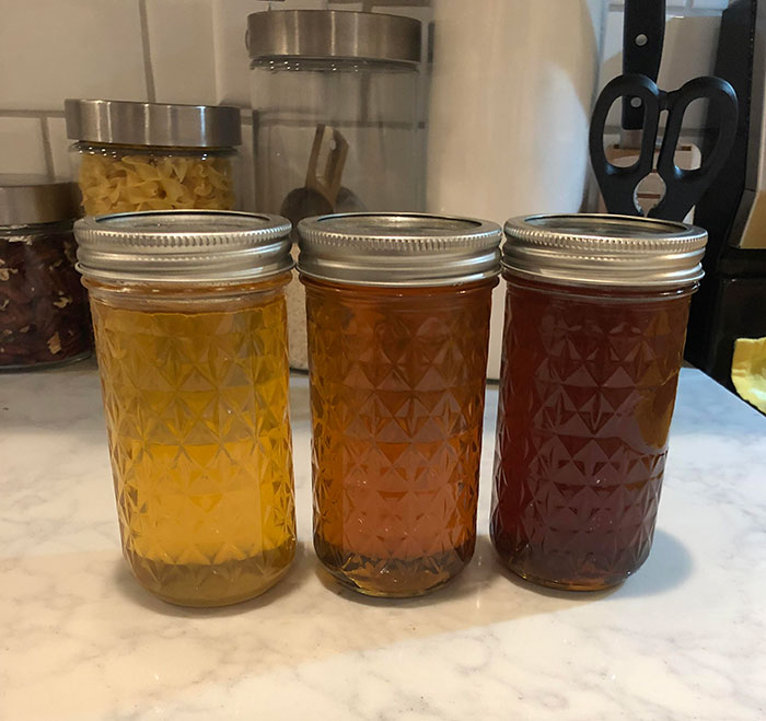 The Different Colors Of The Honey I Harvested This Year: Spring, Summer And Fall