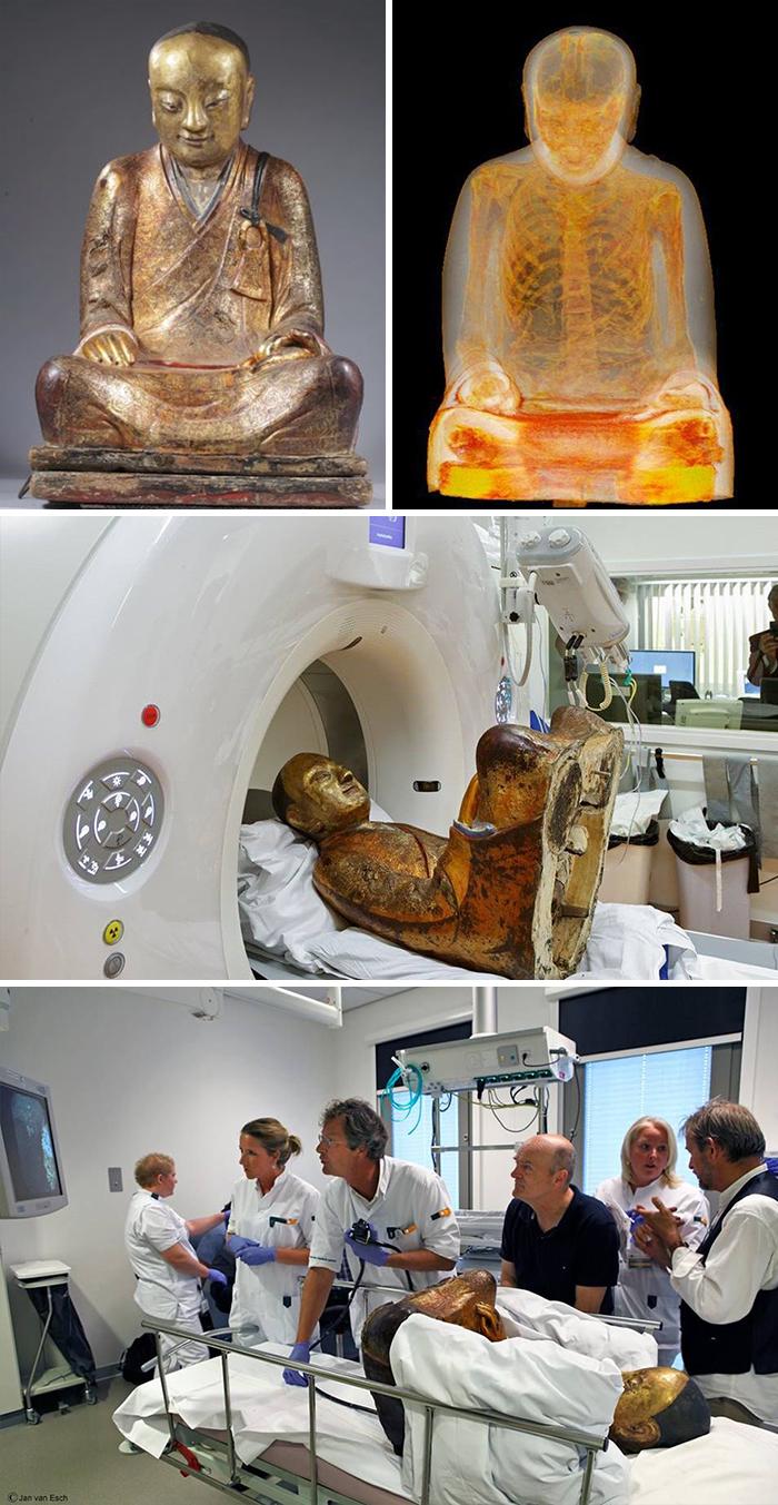 Escaneo TC de una escultura de Buda de hace 1000 años, que ocultaba la momia de un monje en su interior