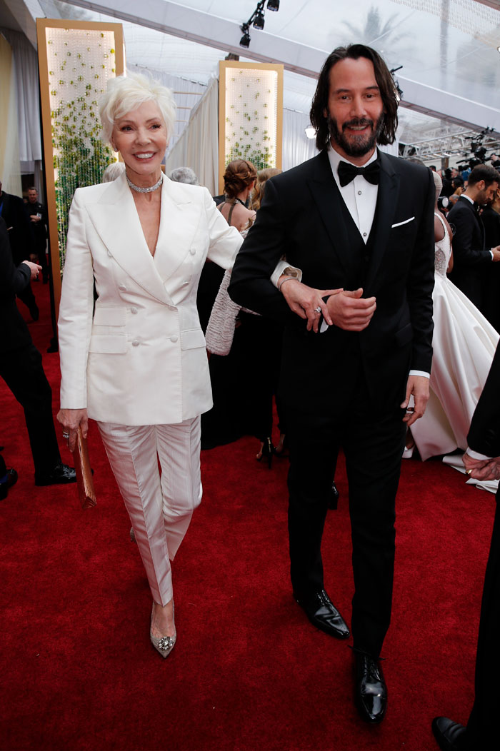 Image result for keanu with his mom at the oscars