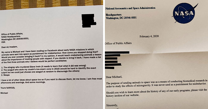 Guy Writes A Humorous Letter To NASA Where He Suggests Sending Misbehaving Animals To Space, NASA Responds