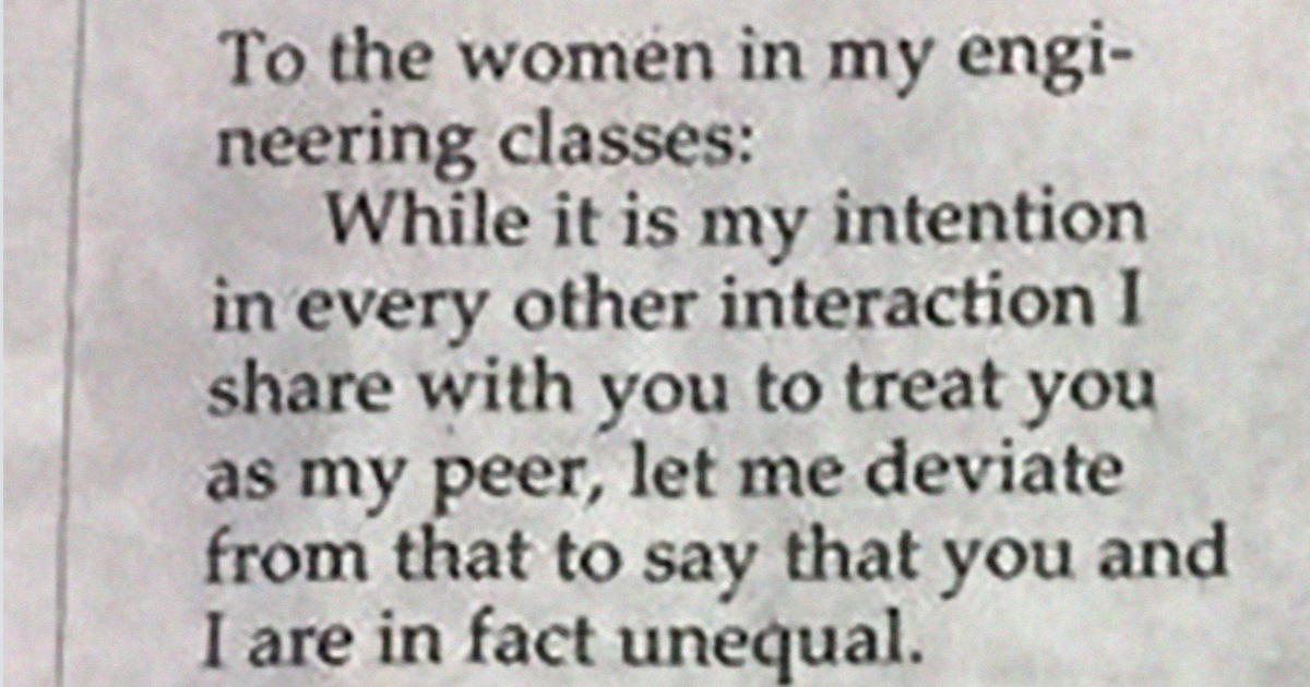 Male Engineering Student Calmly Explains Why Female Classmates Aren't His Equals
