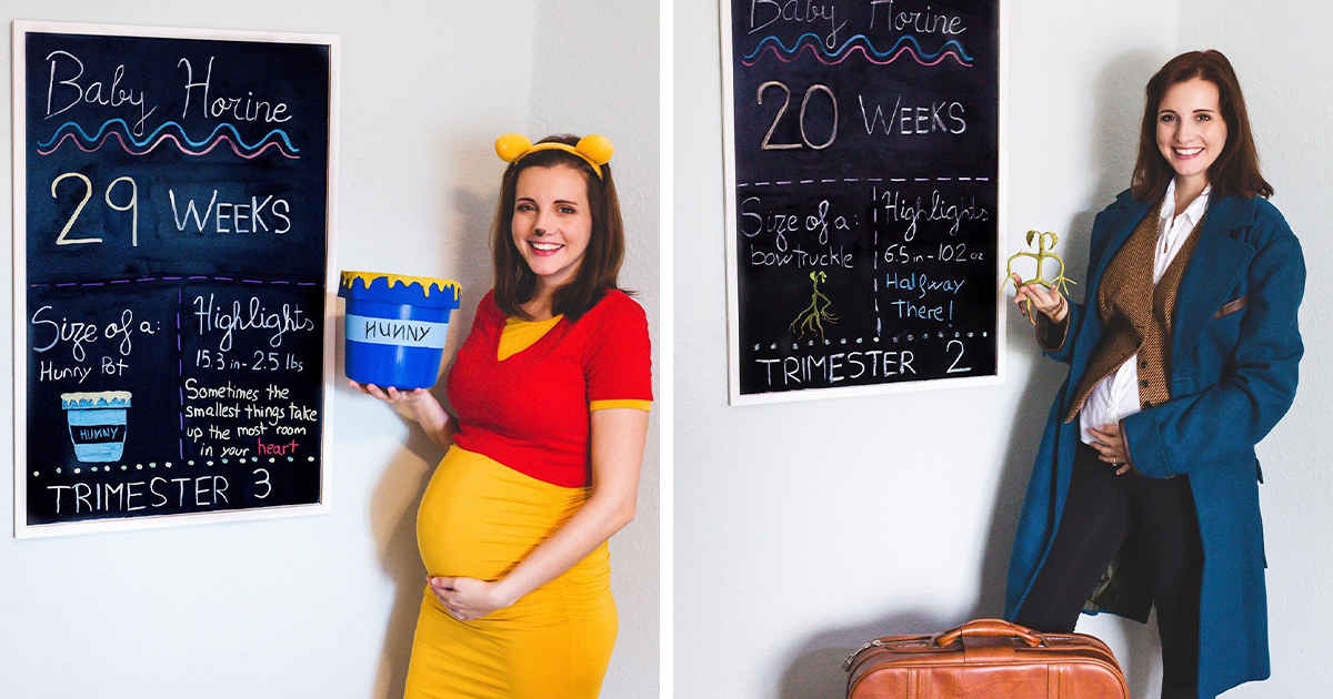 Pregnant Woman Takes 'Disney, Harry Potter, And The Office' Themed Photos Every Week To Track Her Pregnancy