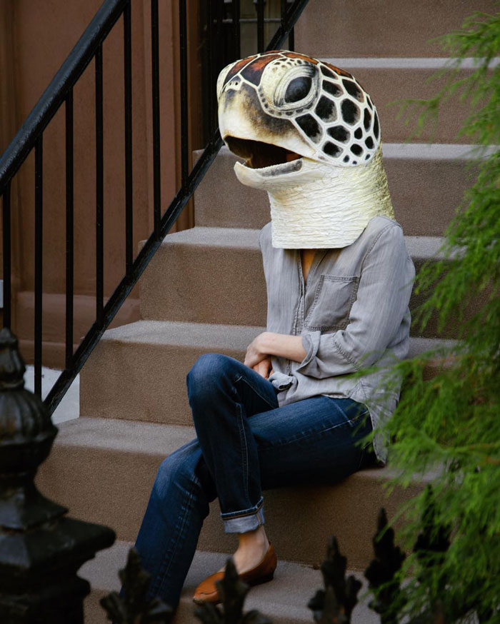 Artist Creates Realistic Animal Masks And Poses With Them In Ordinary Urban Areas