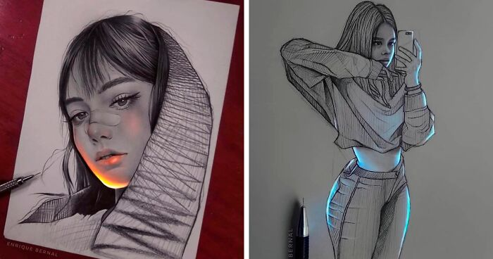 Mexican Artist Uses Unique Technique To Make His Drawings Glow, And The Result Is Mesmerizing