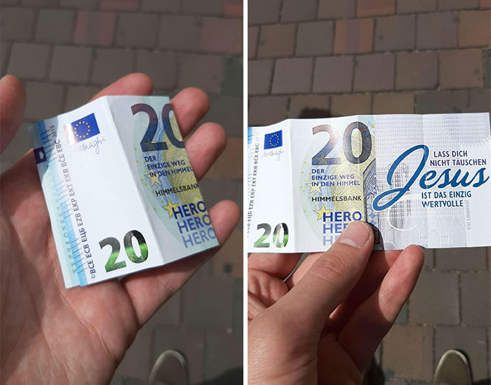Leaving Fake Currency Around To Trick People Into Seeing Your Message