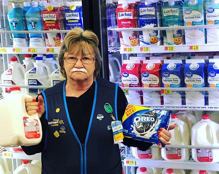 This Lady Works At Walmart, Poses With Its Products For Store's Local FB Page And People Love Her Sense Of Humor