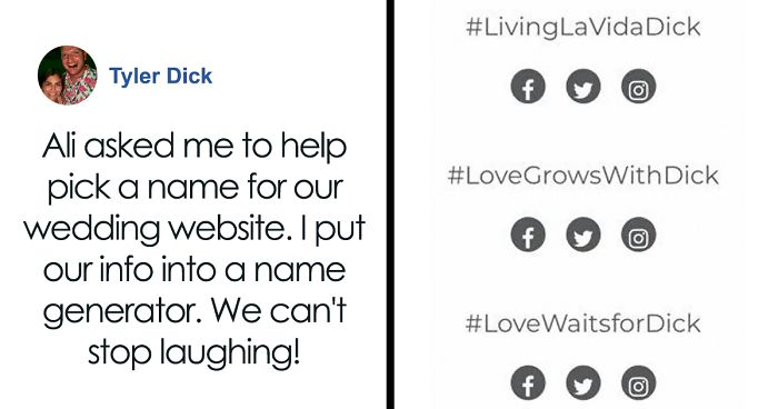 Guy Named Dick Tries Creating A Wedding Hashtag For Him And Fiancee, Gets Ridiculously Inappropriate Results