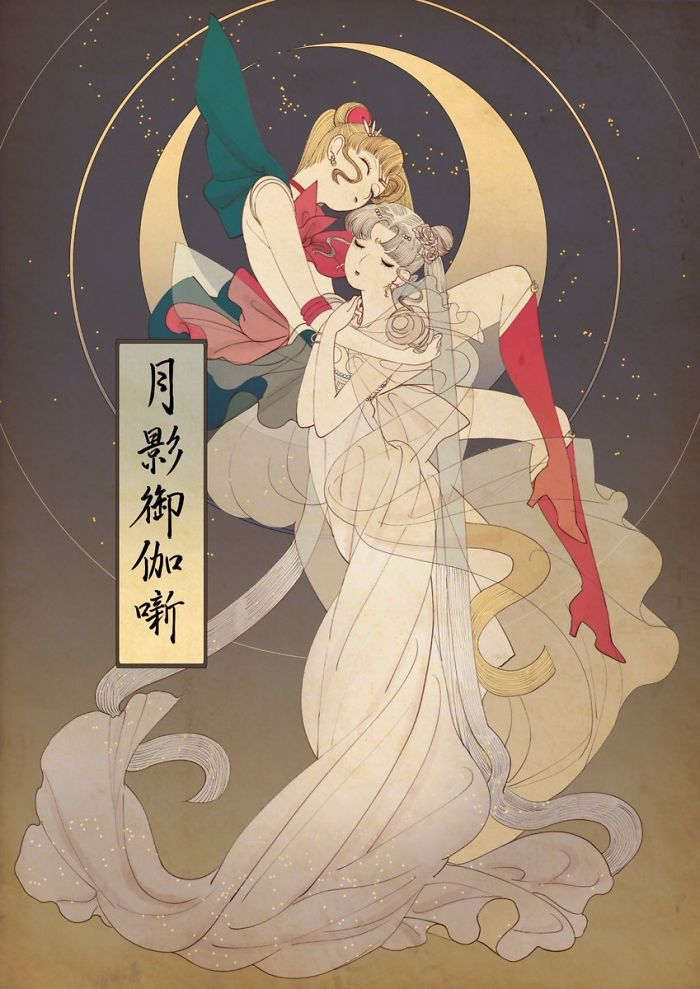 Artist Draws Disney Princesses And Sailor Moon In A Unique Style That Looks Like Traditional Japanese Prints