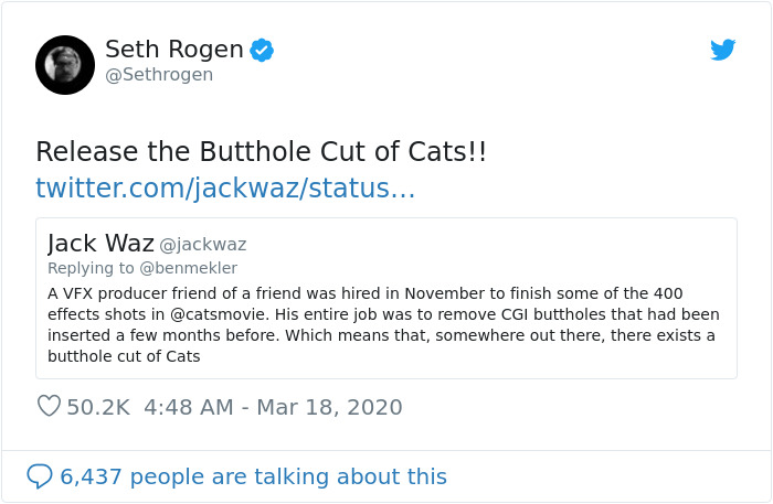 """Seth Rogen Decides To Watch """"Cats"""" While In Quarantine, Gets High, And Writes A Review"""
