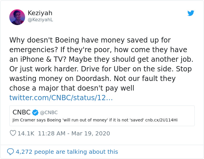 Woman Responds To Companies Failing Because Of Coronavirus By Saying The Same Things Poor People Hear