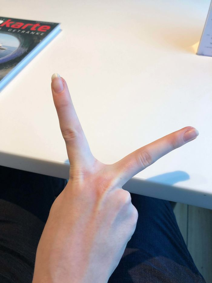 I've Been Told My Peace Sign Is Unusually Wide