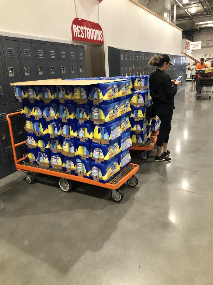 This Woman, Hoarding All The Wet-Wipes At The Local Costco
