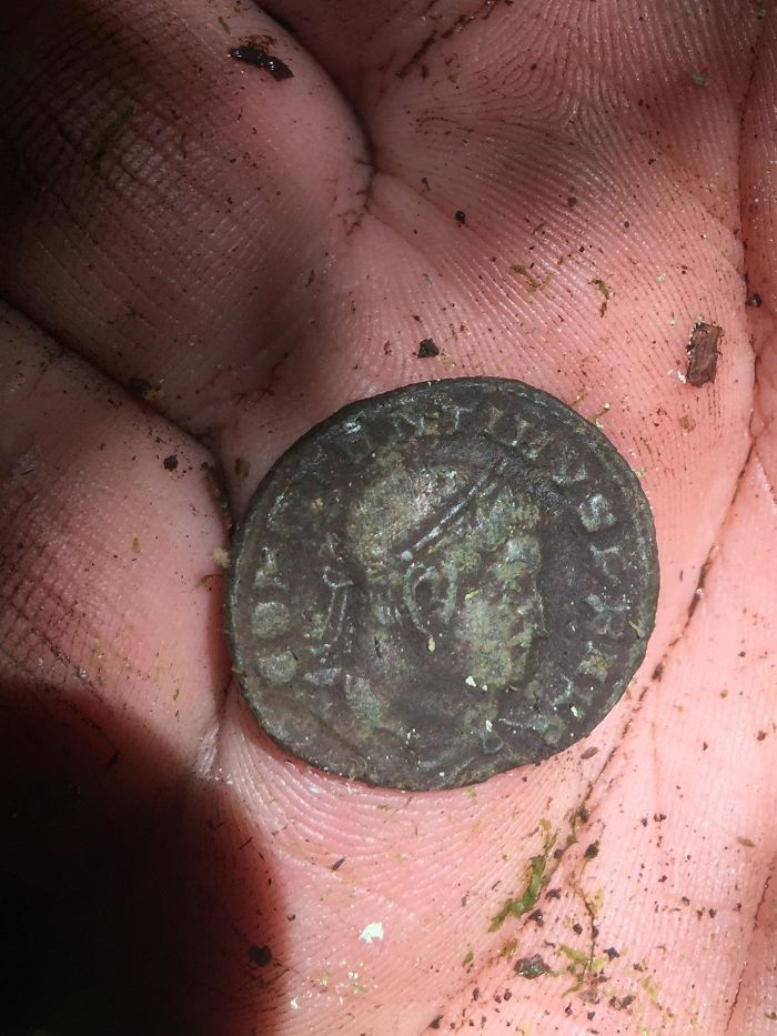 Roman Coin I Found In France While Metal Detecting. Emperor Constantine I. Minted In Trier (Treveri), Germany. Bronze. 306-337 A.D.