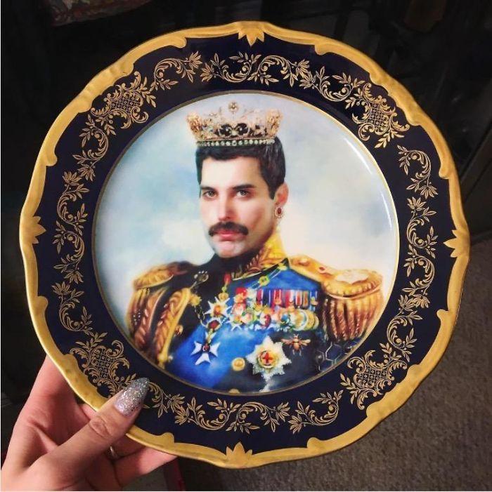 Vintage Freddie Mercury Queen Plate, 1980s