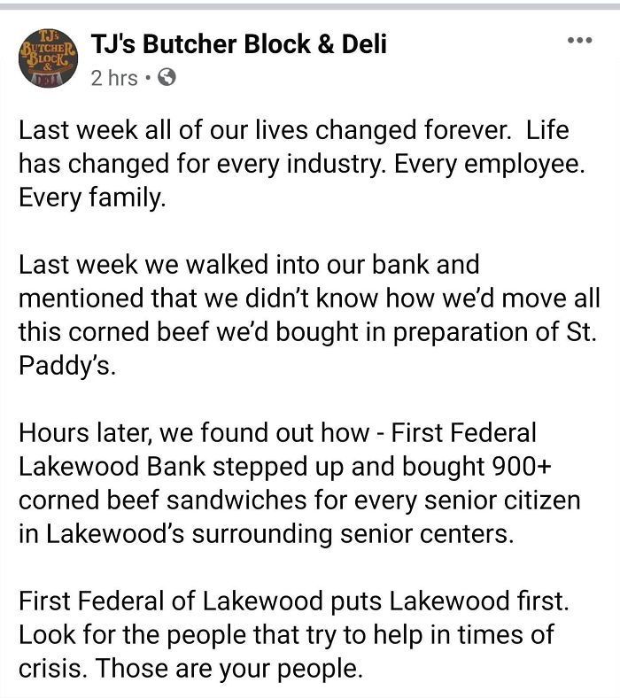 A Local Bank In My Area Bought All The Corned Beef From A Local Deli After They Had To Shut Down Do To The Coronavirus