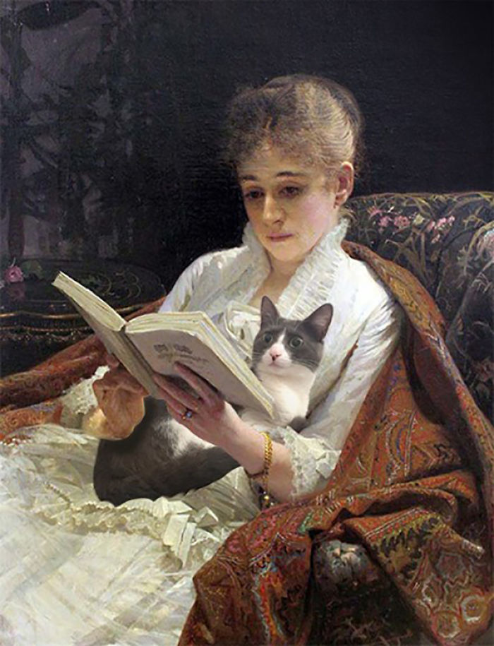 """Portrait Of A Woman Reading"" With Moochie, Ivan Nikolaevich Kramskoy"