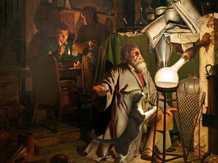 """The Alchemist Discovering Phosphorus"" With Moochie, Joseph Wright Of Derby"