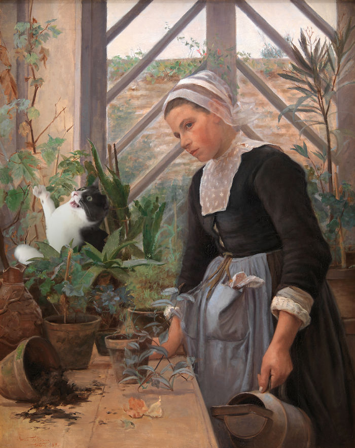 """Breton Girl Looking After Plants In The Hothouse"" With Moochie, Anna Petersen"