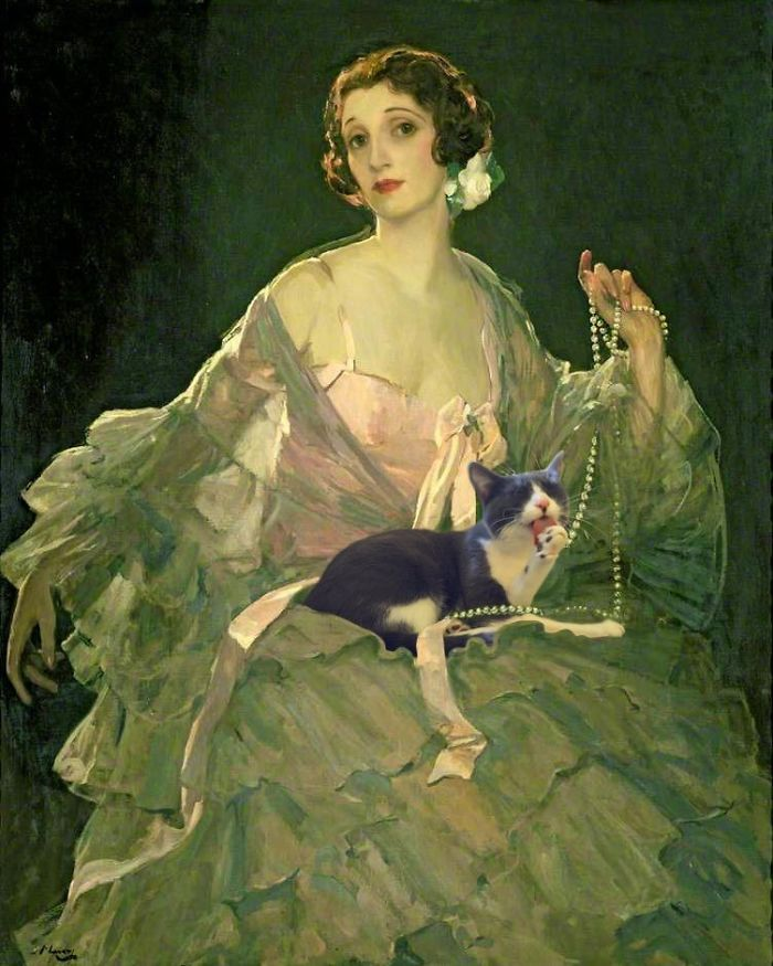 """Hazel In Rose And Grey"" And Moochie, Sir John Lavery"