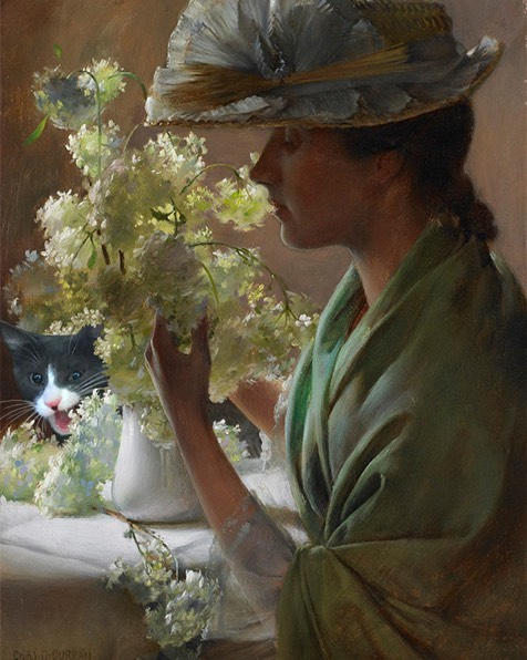 """Lady With A Bouquet (Snowballs)"" And Moochie, Charles Courtney Curran"