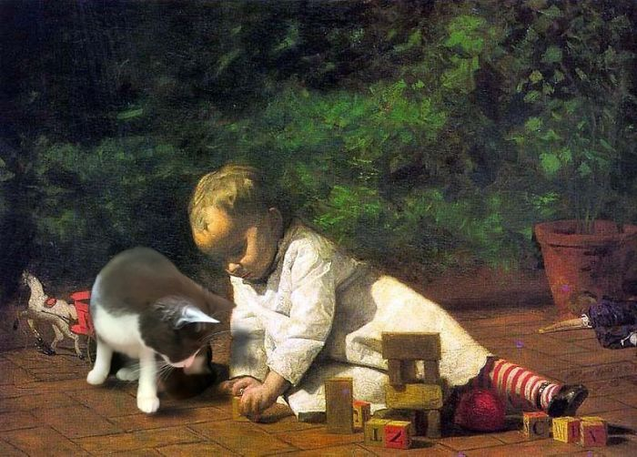 """Baby Playing On The Floor"" With Moochie, Thomas Eakins"