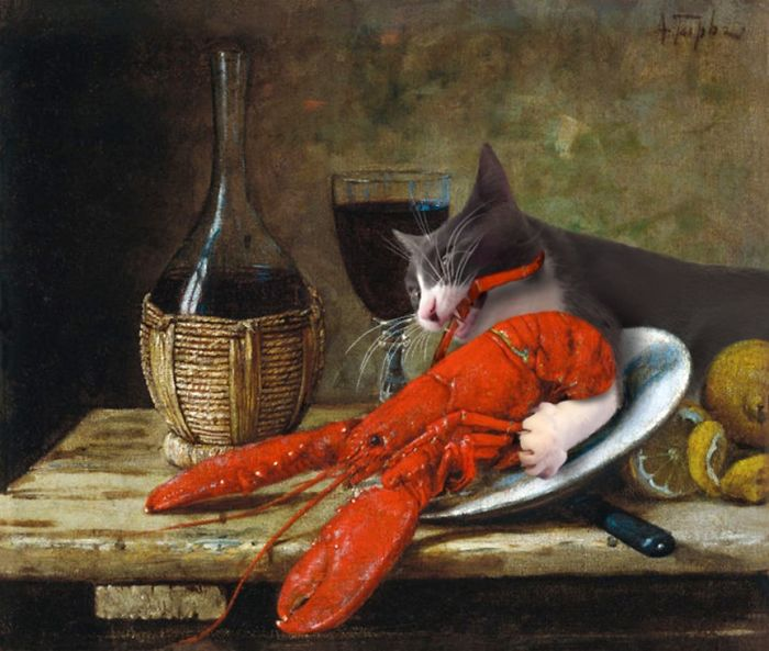 """Still Life With Crayfish"" With Moochie, Alfred Hirv"