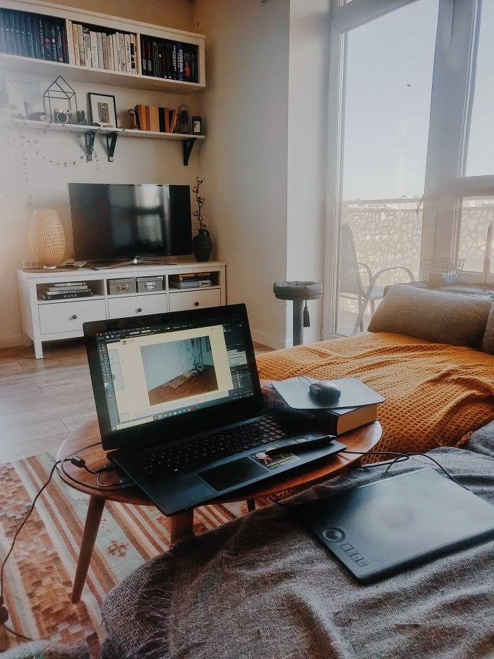 My Setup On A Coffee Table. Working From A Sofa!