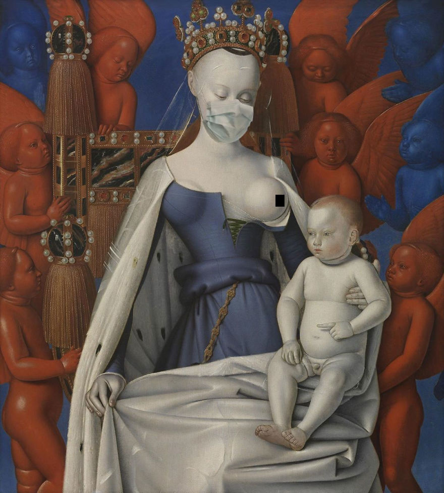 The Virgin And Child With Angels By Jean Fouquet, 1452-1458