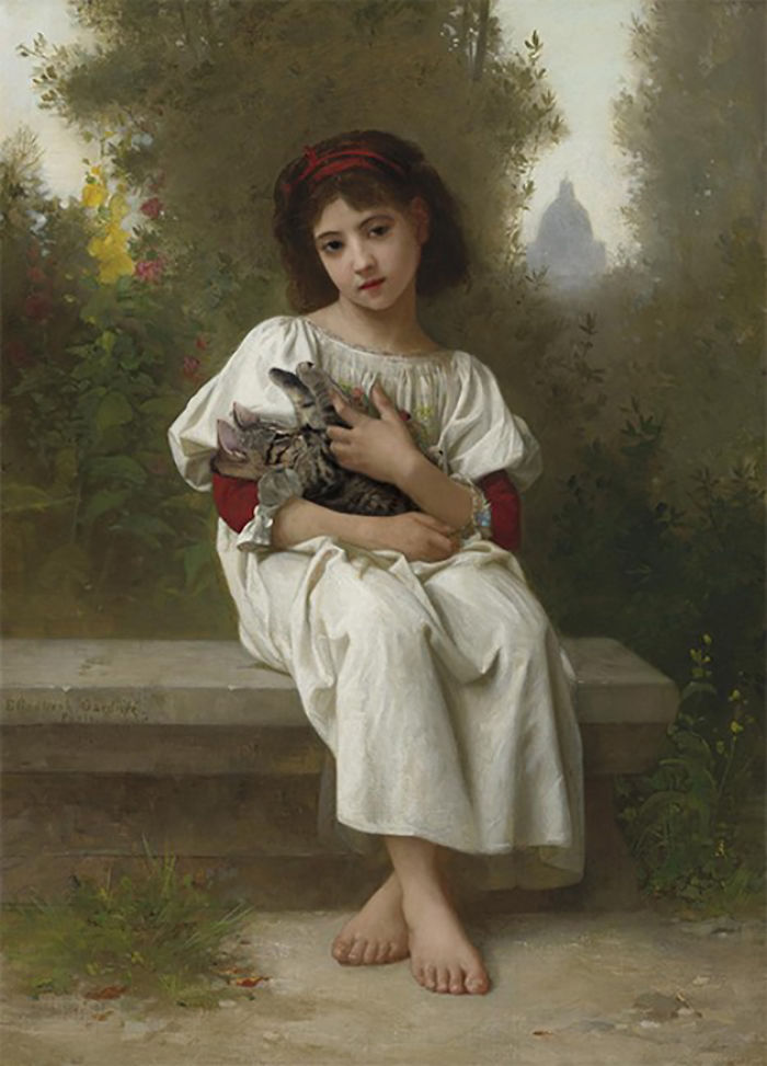 """In The Garden"" With Baby Bee, Elizabeth Jane Gardner Bouguereau"