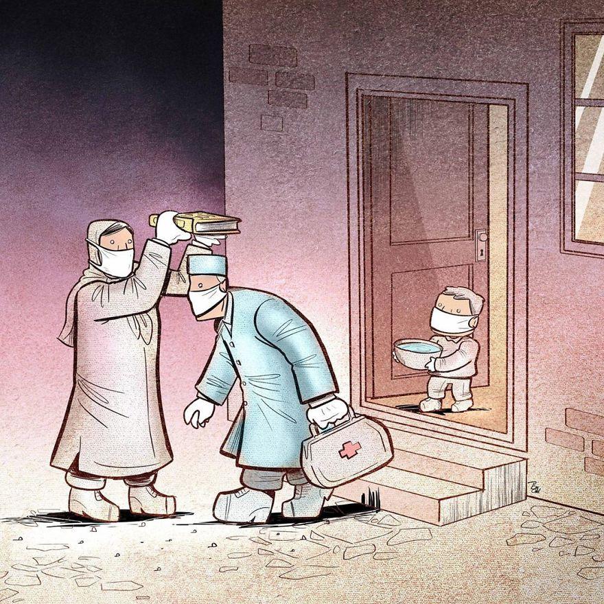 İranlı Sanatçı Coronavirüse Yansıtacak Etkili Çizgi Film Yapıyor