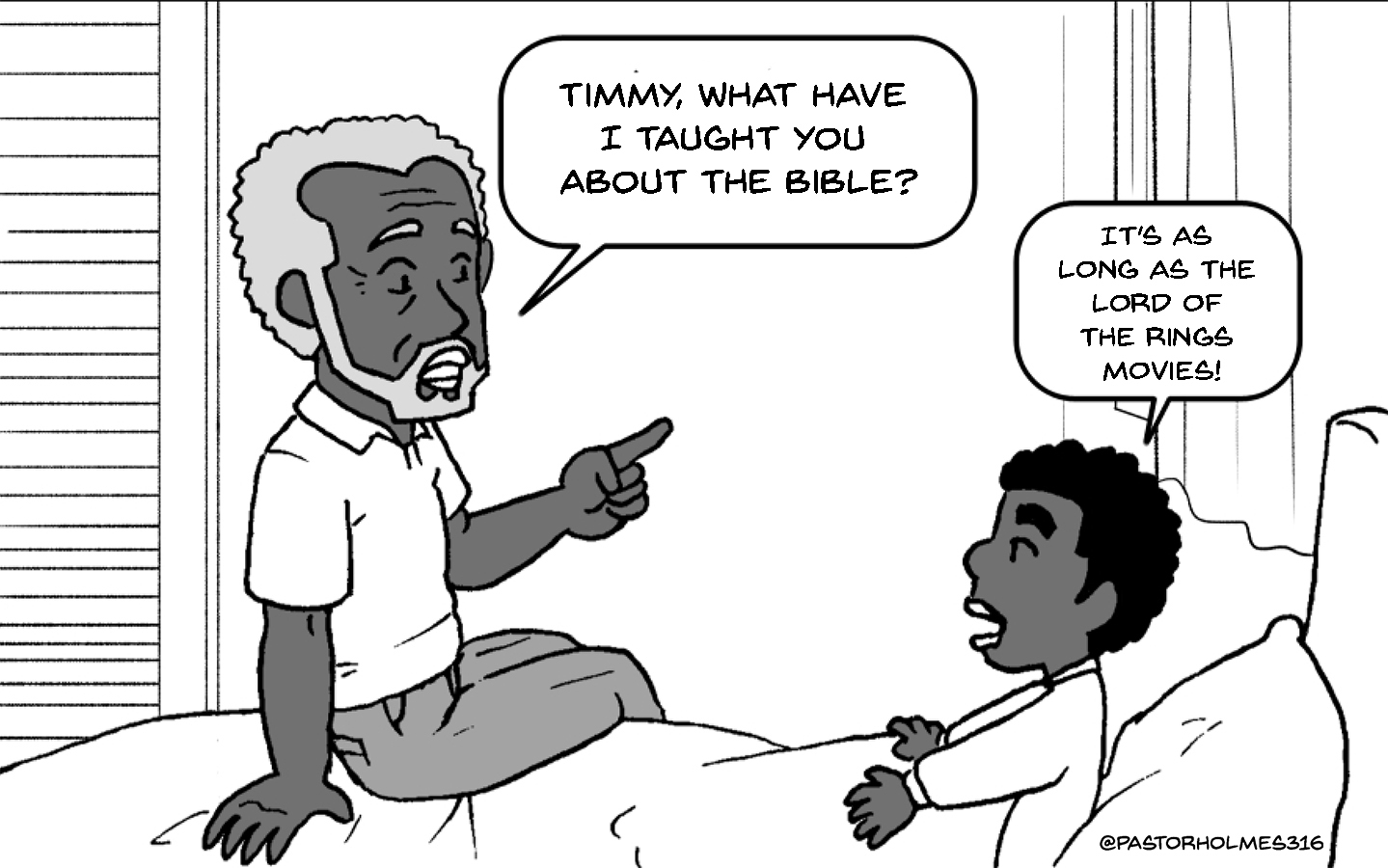 A Comic About A Pastor Who Read Every Bible – From The Christian Bible To The Bro Bible.