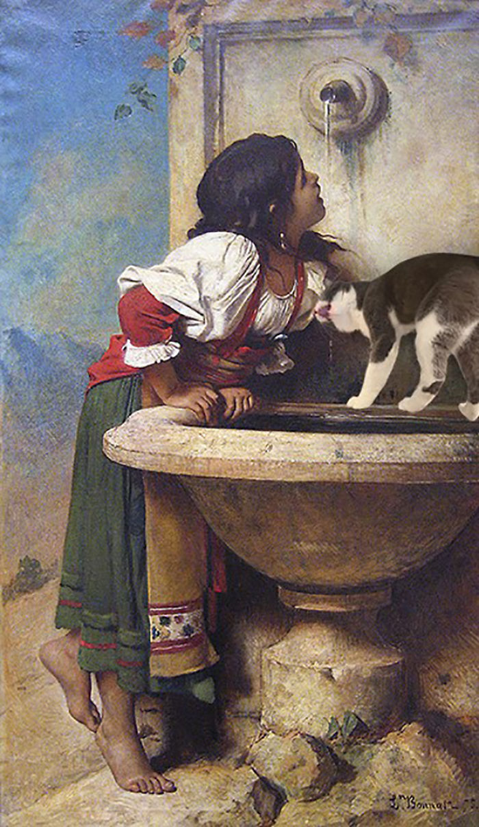 """Roman Girl At A Fountain"" With Moochie, Léon Joseph Florentin Bonnat"