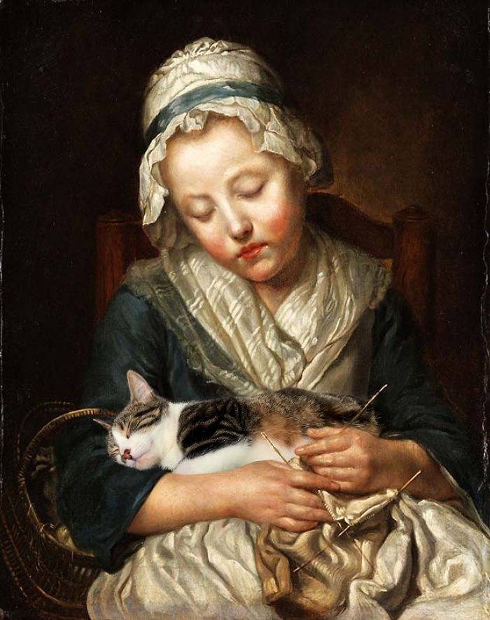 """Knitter Asleep"" With The Dumpling, Jean-Baptiste Greuze"