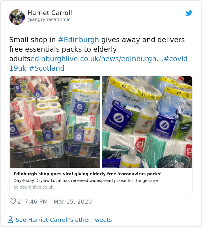 Small Shop Gives Away And Delivers Free Essentials Packs