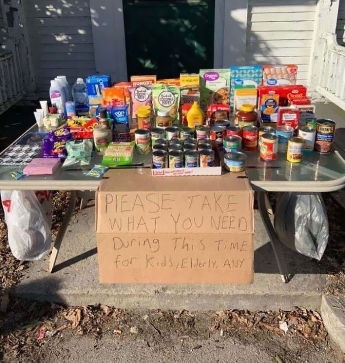A Table Was Setup By Somebody In My Town To Help People Struggling During This Chaotic Time.. This Is What Should Be Happening!