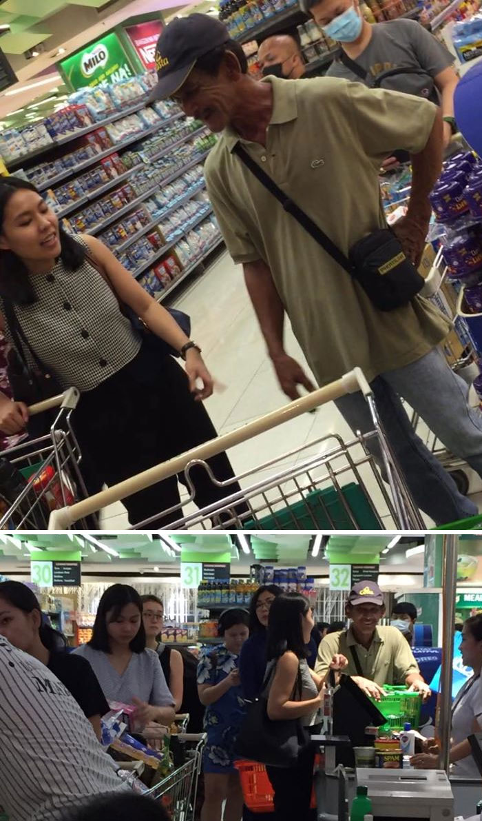 Lady Buys Lots Of Groceries For Old Man Who Only Had Some Canned Goods, Alcohol