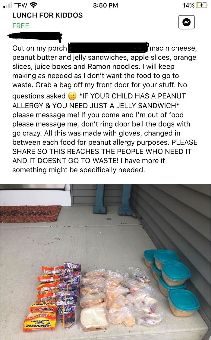 Today On My Buy And Sell Facebook Group A Woman Posted Free Lunch For Any Kids That Need It Since School Was Cancelled (Censored Address And Location)