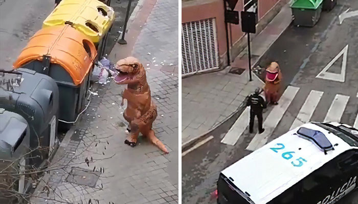 Police Caught A Man Outside In T-Rex Costume During Spain's Coronavirus Lockdown