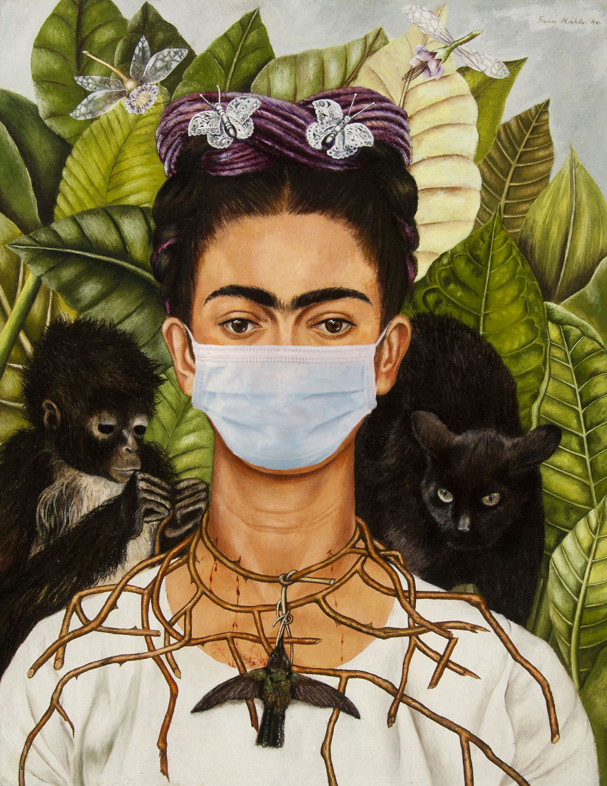 Self-Portrait With Thorn Necklace And Hummingbird By Frida Kahlo, 1940