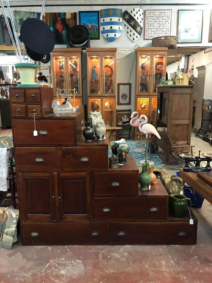 """Need Some Stairs? Need A Cabinet? Need A Stair Shaped Cabinet? You're In Luck! Found This Cool Piece In Camden, Sc At Aaa Antiques. I Actually Fell In Love With It, But Sadly We Don't Have The Room. It's About 5' Wide And 14"""" Deep. It Was Pulled Out Of An Old House There In Town"""