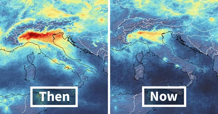 satellite images reveal a dramatic drop in pollution