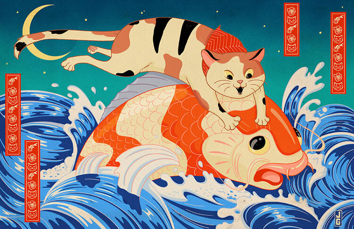 My 6 Illustrations Of Cats Inspired By Traditional Japanese And Medieval Art