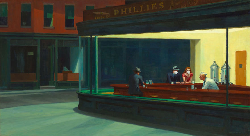 Nighthawks At The Diner By Edward Hopper, 1942