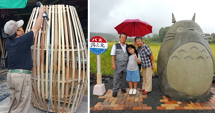 Elderly Couple Recreated A Totoro Bus Stop In Real Life