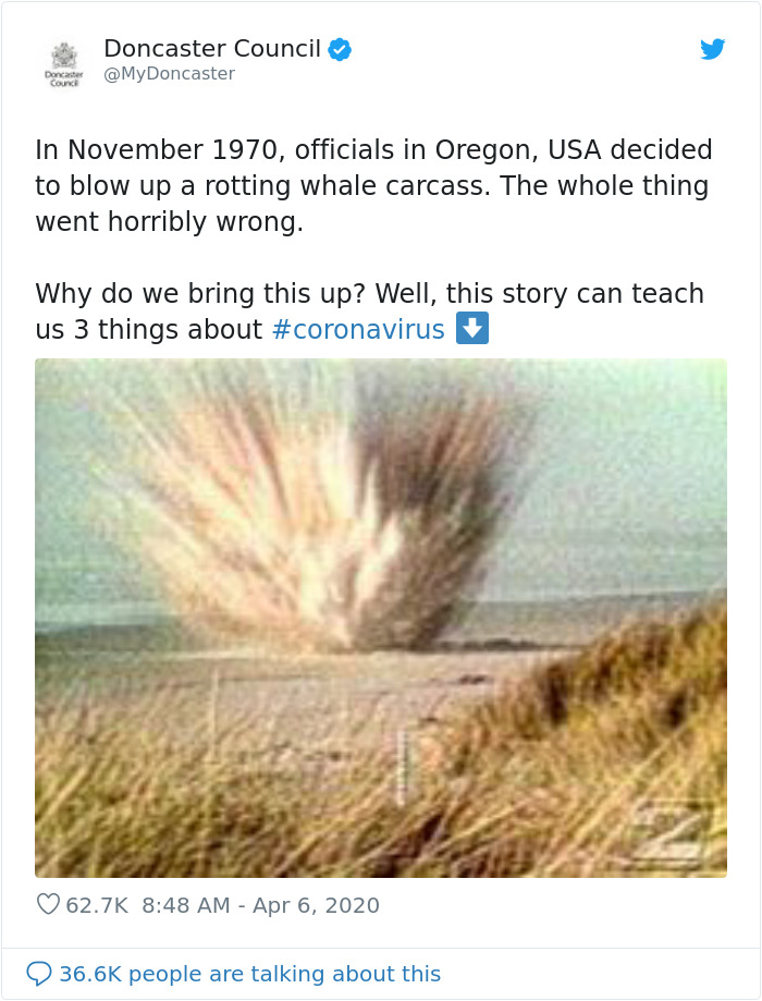 People Are Applauding This Twitter Manager For Using A Whale Blown Up In The 1970s As A Lesson On Coronavirus