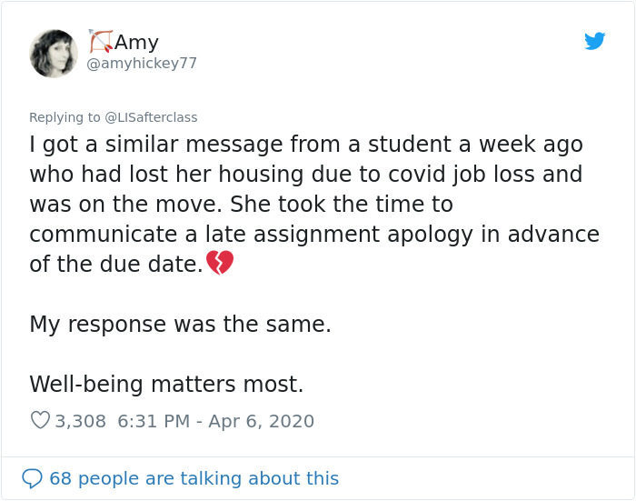 College Professor Shares A Script All Lecturers Should Use When Students Email About Getting Simptomps Of COVID-19