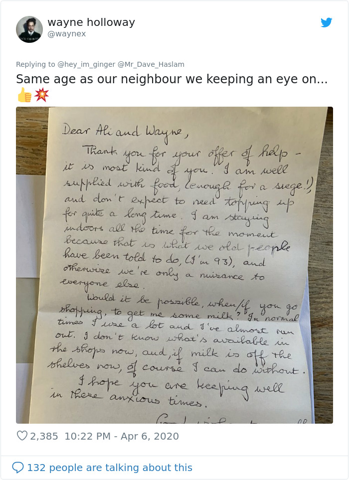 5 Y.O. Girl Sends An Adorable Letter To Her 93 Y.O. Neighbor Asking If He's OK, He Replies