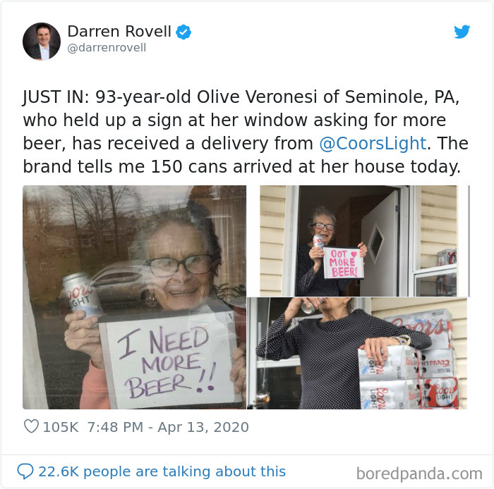 She Held Up A Sign In Her Window Saying She Needs More Beer, And Before Long She Was Suprised With 150 Cans Of Her Favorite Ale