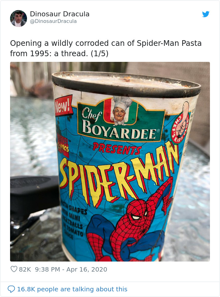 Guy Opens A Can Of Spider-Man Pasta From 1995